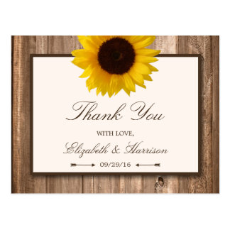 Country Rustic Sunflower & Brown Wood Wedding Postcard