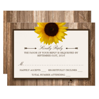 Country Rustic Sunflower & Brown Wood Wedding RSVP Card