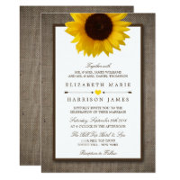 Country Rustic Sunflower & Burlap Wedding Card