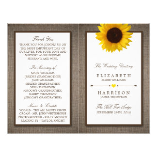 Country Rustic Sunflower & Burlap Wedding Flyer