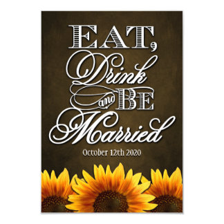Country Rustic Sunflower Wedding RSVP Cards