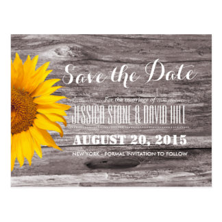 Country Rustic Sunflower Wood Save the Date Postcard