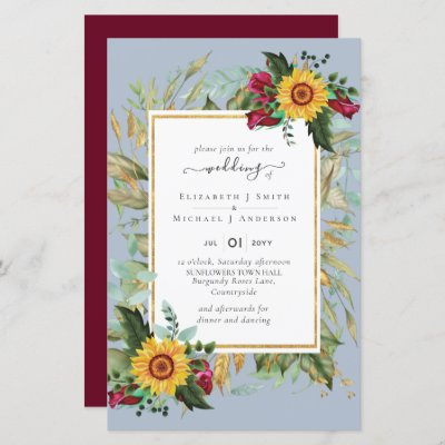Country Rustic Sunflowers Burgundy Roses Wedding