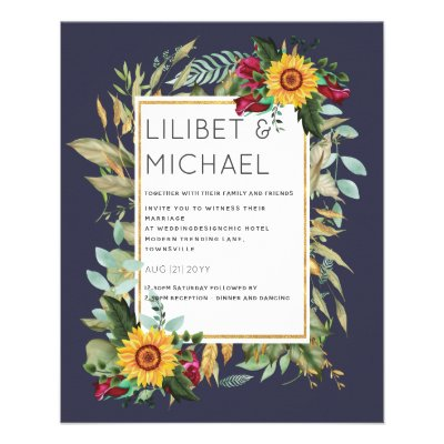 Country Rustic Sunflowers Burgundy Roses Wedding Flyer