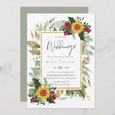 Country Rustic Sunflowers Burgundy Roses Wedding Invitation