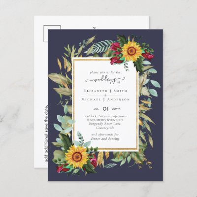 Country Rustic Sunflowers Burgundy Roses Wedding P Postcard