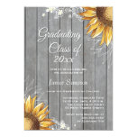 "Country rustic sunflowers graduation party invite 5"" x 7"" invitation card"