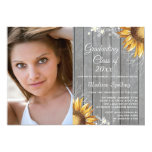 """Country rustic sunflowers photo graduation party 5"""" x 7"""" invitation card"""