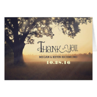 Country rustic tree lights wedding thank you cards