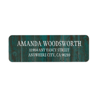Country Rustic Turquoise Barn Wood Wedding Labels