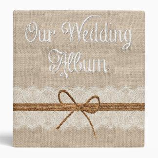 Country Rustic Twine Burlap Wedding Photo Album 3 Ring Binders