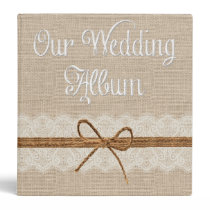 Country Rustic Twine Burlap Wedding Photo Album Binder