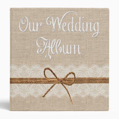 Country Rustic Twine Burlap Wedding Photo Album Binder