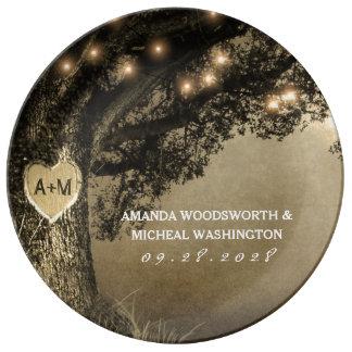 Country Rustic Vintage Carved Oak Tree Wedding Plate