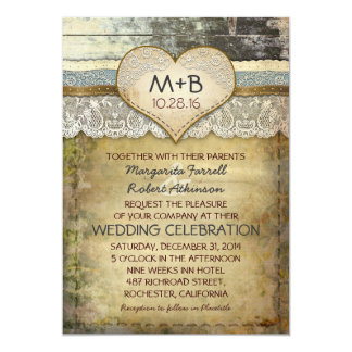 "country rustic wedding invitations 5"" x 7"" invitation card"