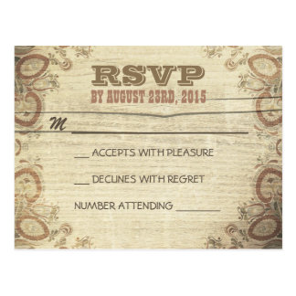 Country rustic wedding RSVP postcards