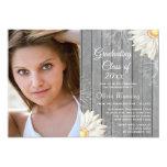 "Country rustic white daisy photo graduation party 5"" x 7"" invitation card"
