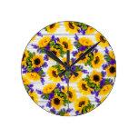 Country Rustic White Wood Purple Yellow Sunflower Round Clock