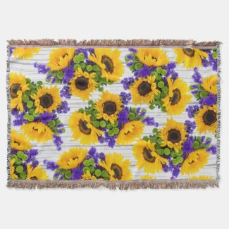 Country Sunflower Throw Blanket