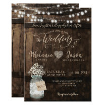 Country Rustic Wood Barrel Wedding Invitations