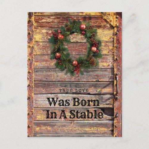 Country Rustic Wood Christmas Card Christian Theme