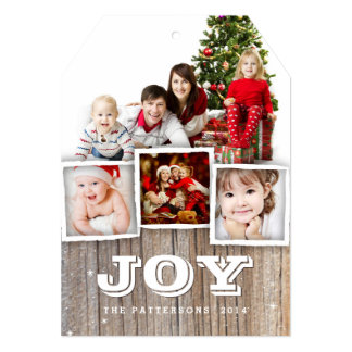 Country Rustic Wood Christmas JOY Photo Card