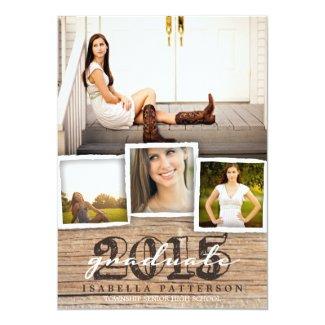 Country Rustic Wood Graduation 2015 Invitation