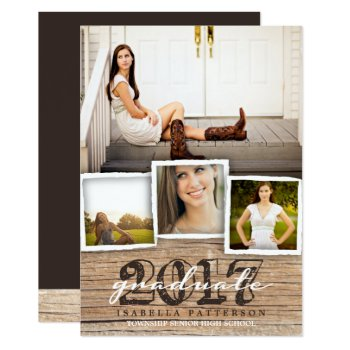 Country Rustic Wood Graduation 2017 Invitation by kat_parrella at Zazzle