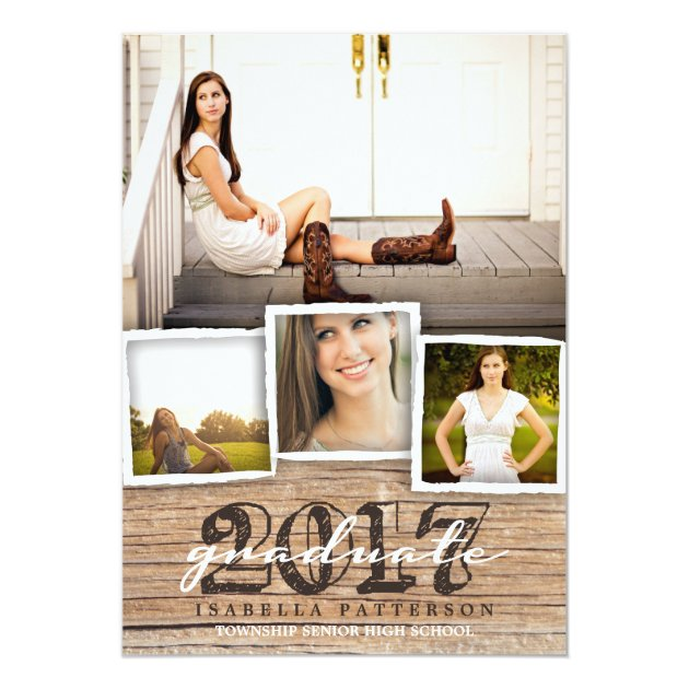 Country Rustic Wood Graduation 2017 Invitation (back side)
