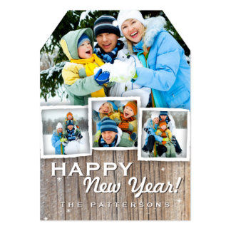 Country Rustic Wood Happy New Year Photo Card