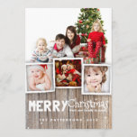 "Country Rustic Wood Merry Christmas Photo Card<br><div class=""desc"">Rustic, weathered wood background and whimsical mix of typography sets the stage for an playful country holiday greeting for family and friends. With room for a multi photo collage of your family, this design frames three smaller photos and one large photo with a border of simulated wood grain at the...</div>"