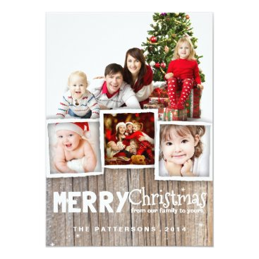 Christmas Themed Country Rustic Wood Merry Christmas Photo Card