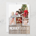 """Country Rustic Wood Merry Christmas Photo Card<br><div class=""""desc"""">Rustic, weathered wood background and whimsical mix of typography sets the stage for an playful country holiday greeting for family and friends. With room for a multi photo collage of your family, this design frames three smaller photos and one large photo with a border of simulated wood grain at the...</div>"""