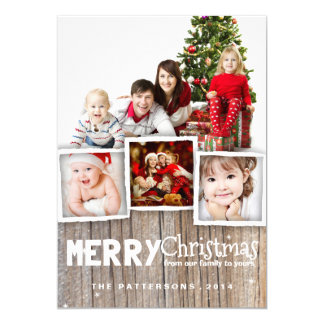 """Country Rustic Wood Merry Christmas Photo Card 5"""" X 7"""" Invitation Card"""
