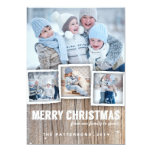 Country Rustic Wood Merry Christmas Photo Card Custom Invites