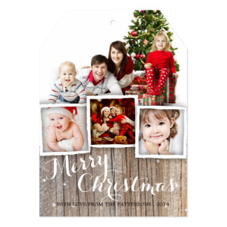 Country Rustic Wood Merry Christmas Photo Card Personalized Announcements