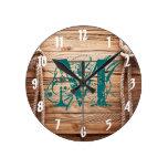 Country Rustic Wood Monogram Initial Wall Clock