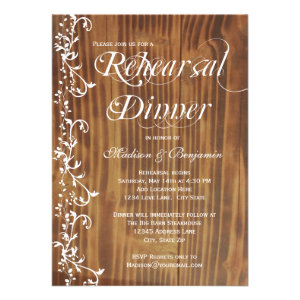 Country Rustic Wood Rehearsal Dinner Invitations