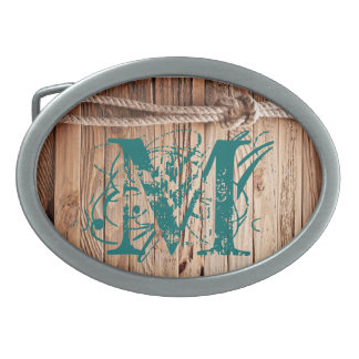 Country Rustic Wood Rope Naut Monogram Belt Buckle