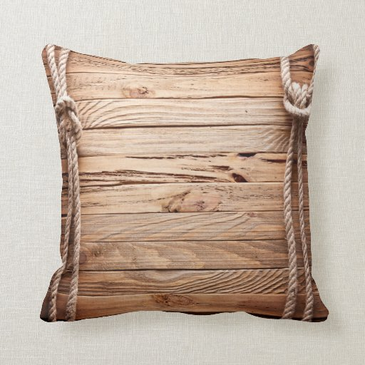 Country Rustic Wood Rope Nautic Throw Couch Pillow Zazzle