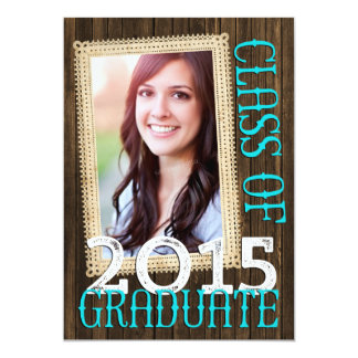 Country Rustic Wood Teal Photo 2015 Graduation 5x7 Paper Invitation Card