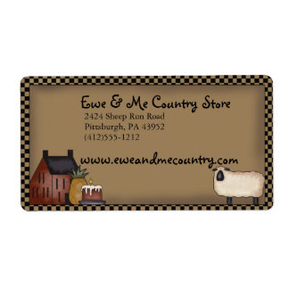 Country Saltbox & Sheep Shipping Label Template