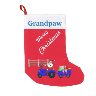 Country Santa On Tractor Christmas Stocking