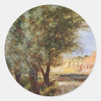 Country Scene - Adolph Menzel Round Sticker