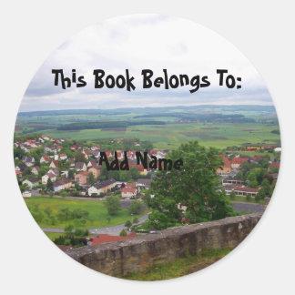 Country Scene Bookplate Sticker