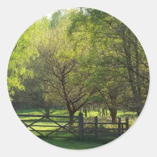 Country Scene Classic Round Sticker
