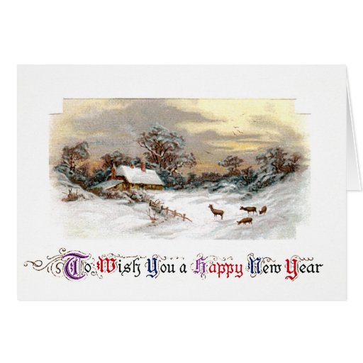 Country Scene with Deer Vintage New Year Greeting Cards