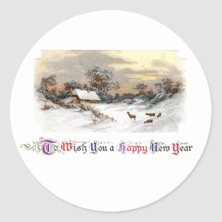 Country Scene with Deer Vintage New Year Classic Round Sticker