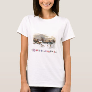 Country Scene with Deer Vintage New Year T-Shirt