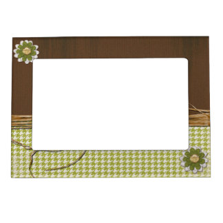 Country Scrapbook Flower Magnetic Picture Frame
